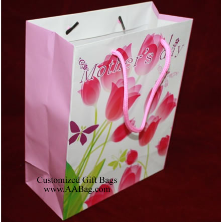 Custom Laminated Gift Bag with Mother's day Theme