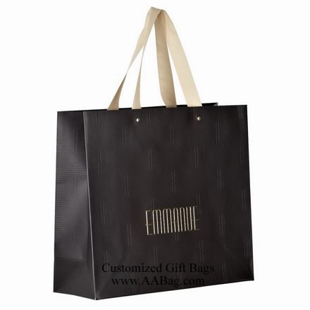 Embossing Invory Paper Shopping Bag with Hot Stamped Logo