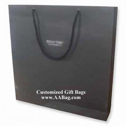 Classic Black Paper Bag with white Logo